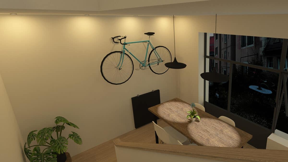 Habitat Minimal – De l'atelier et vieux grenier à la tiny house, La Chaux-de-Fonds – Salle à manger vue depuis l'escalier