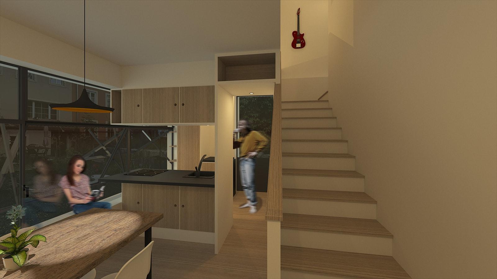 Habitat Minimal – De l'atelier et vieux grenier à la tiny house, La Chaux-de-Fonds – Salle à manger